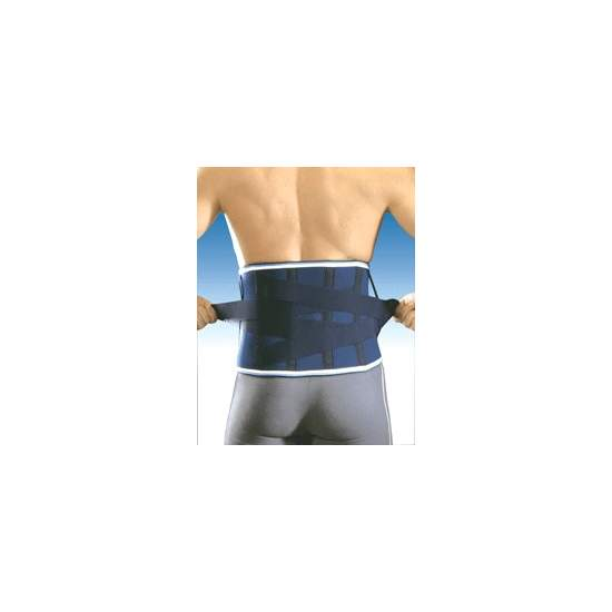 FAJA DE NEOPRENO CRUZADA CON ALMOHADILLA 4203 - Gaza 4.5mm neoprene with nylon outer layer and soft inner polyester towel. With steel boned, posterior cross bands with Velcro closing front and molded lumbar pad.