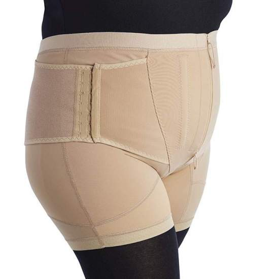 LEATHER PANEL WITH LUMBAR REINFORCEMENT PANTBRACE PF010 -  Faja pantalón made in fabric of great elasticity, has double closing system in its front by means of rack and brackets, that together with the whales gives us a perfect control of the abdominal wall.