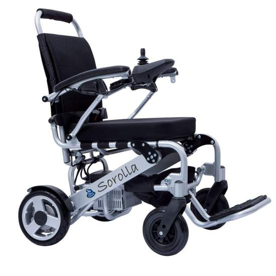 Electric Folding Chair Sorolla Mini - Super-light electric electric aluminum wheelchair, with lithium batteries, and foldable for easy transport and introduction into vehicles