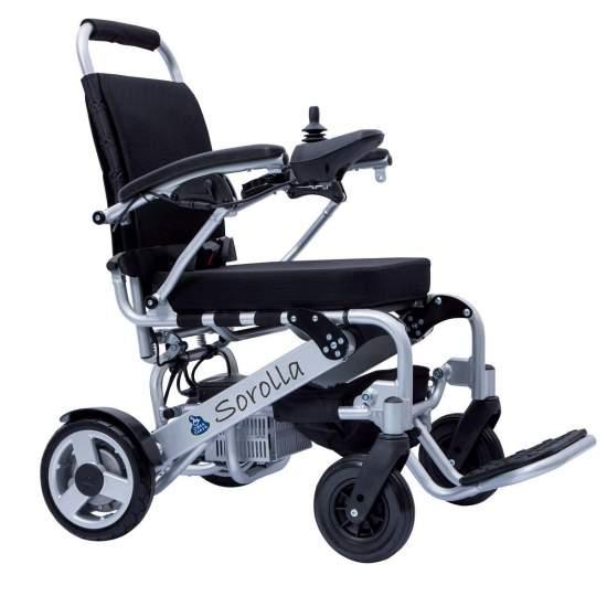 Folding cadeira elétrica Sorolla Mini - cadeira de rodas elétrica super-leve elétricos de alumínio, baterias de lítio, e dobrável para fácil transporte e introdução em veículos