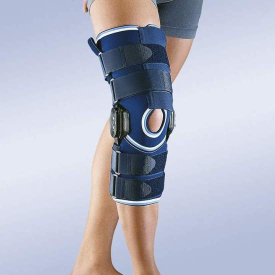 NEOPRENE flexão CONTROLE joelho e extensão de longo -  Joelho neoprene 4,5 mm com policêntricas conjuntas 0-15-30-60-90 graus de flexão e extensão.