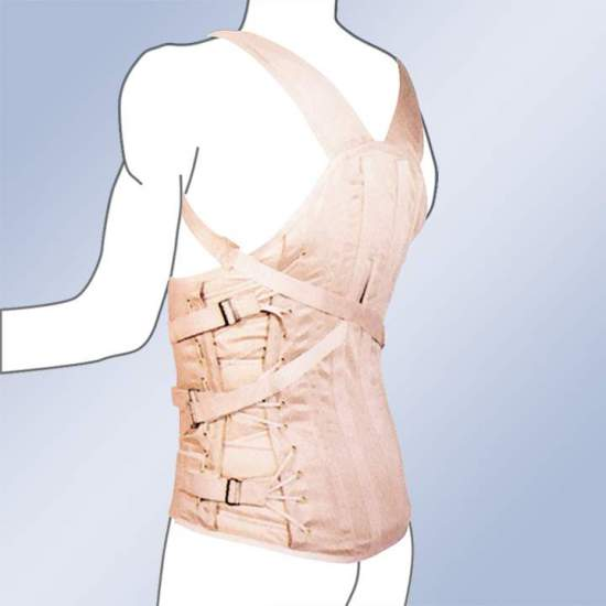 CORSETERIA 3020-C CORSETERIA SEMIRRIGIDA CABALLERO DORSOLUMBAR STRAP -  Dorsolumbar girdle made of 100% cotton material, straps with buckle closure, plastic and steel whales, side regulation cord. Standard and custom made. Standard clasp closure. Possibility of special closures in zip, velcro-ring or giant...