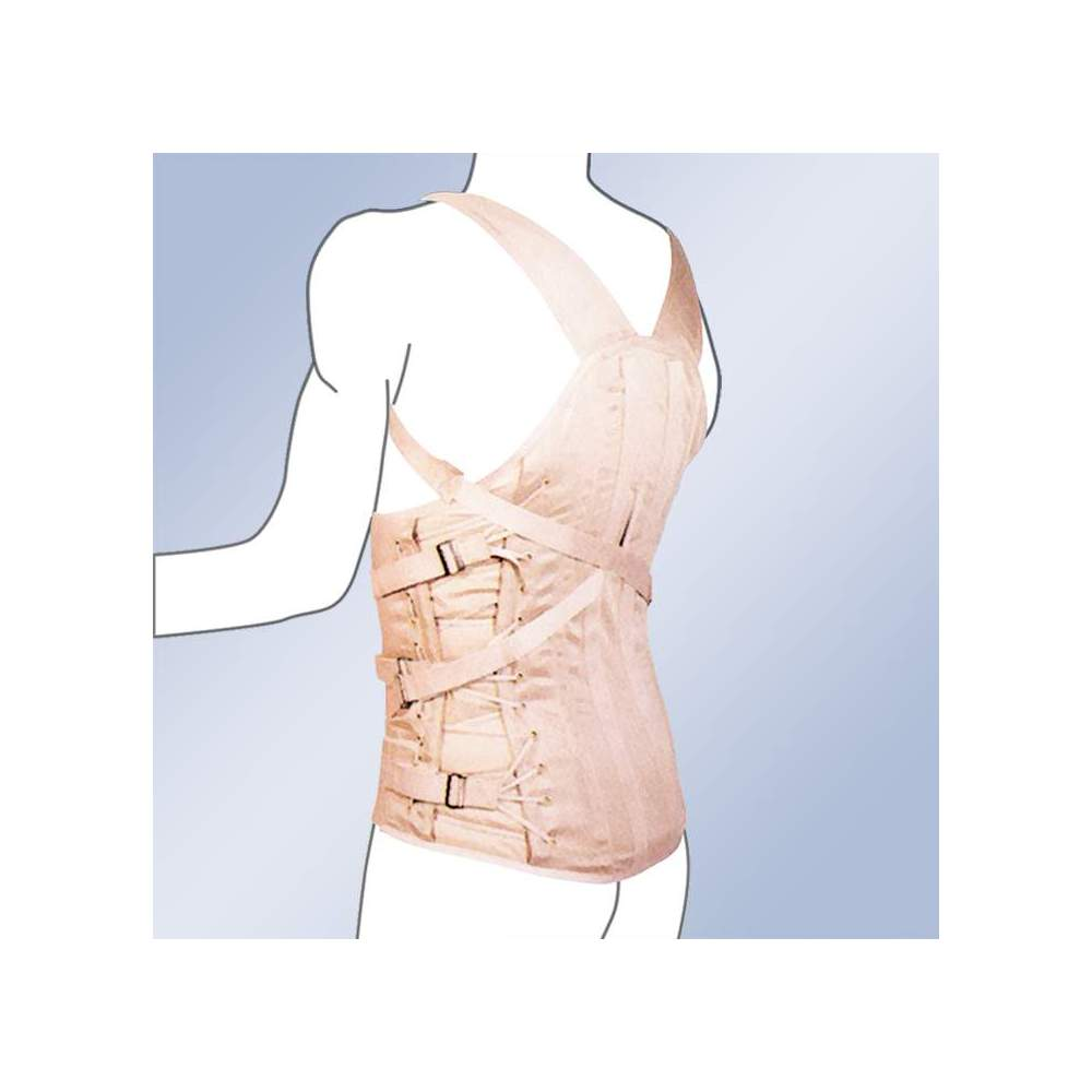 CORSETERIA 3020-C CORSETERIA SEMIRRIGIDA CABALLERO DORSOLUMBAR STRAP -  Dorsolumbar girdle made of 100% cotton material, straps with buckle closure, plastic and steel whales, side regulation cord. Standard and custom made. Standard clasp closure....