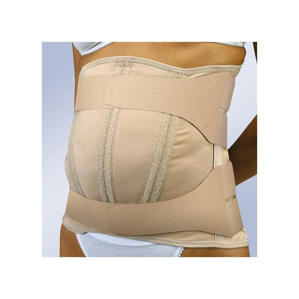 VELCRO CLOSED DORSOLUMBAR STRAP WITH ABDOMEN PENDULUM FX-215 -  Semi-rigid dorsolumbar girdle made in semi-elastic fabric, with anatomical hind whales, force multiplier system for traction and adjustment straps, velcro closure. Specially...