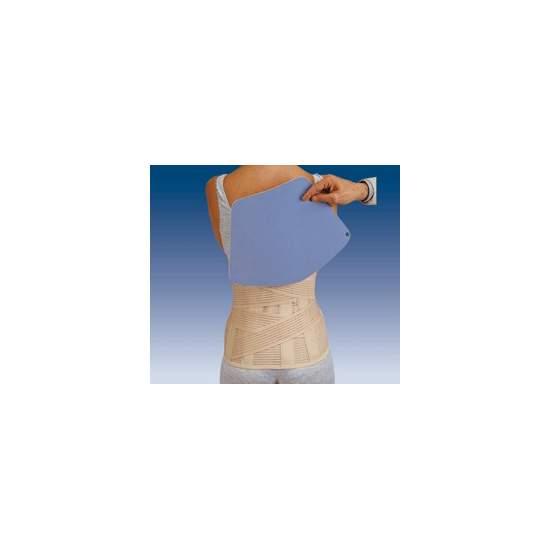 Lombo-sacré sac de ceinture COURT SEJOUR AVEC PLAQUE thermomoulable 1300 - Gaza multibande matériau respirant lombo-sacrée semi-rigide avec deux bandes de tension traverse à l'arrière joignant à l'avant, les baleines dos et verticale velcro delantero.Incorpora un sac de tissu sur le bas du dos afin de pouvoir...
