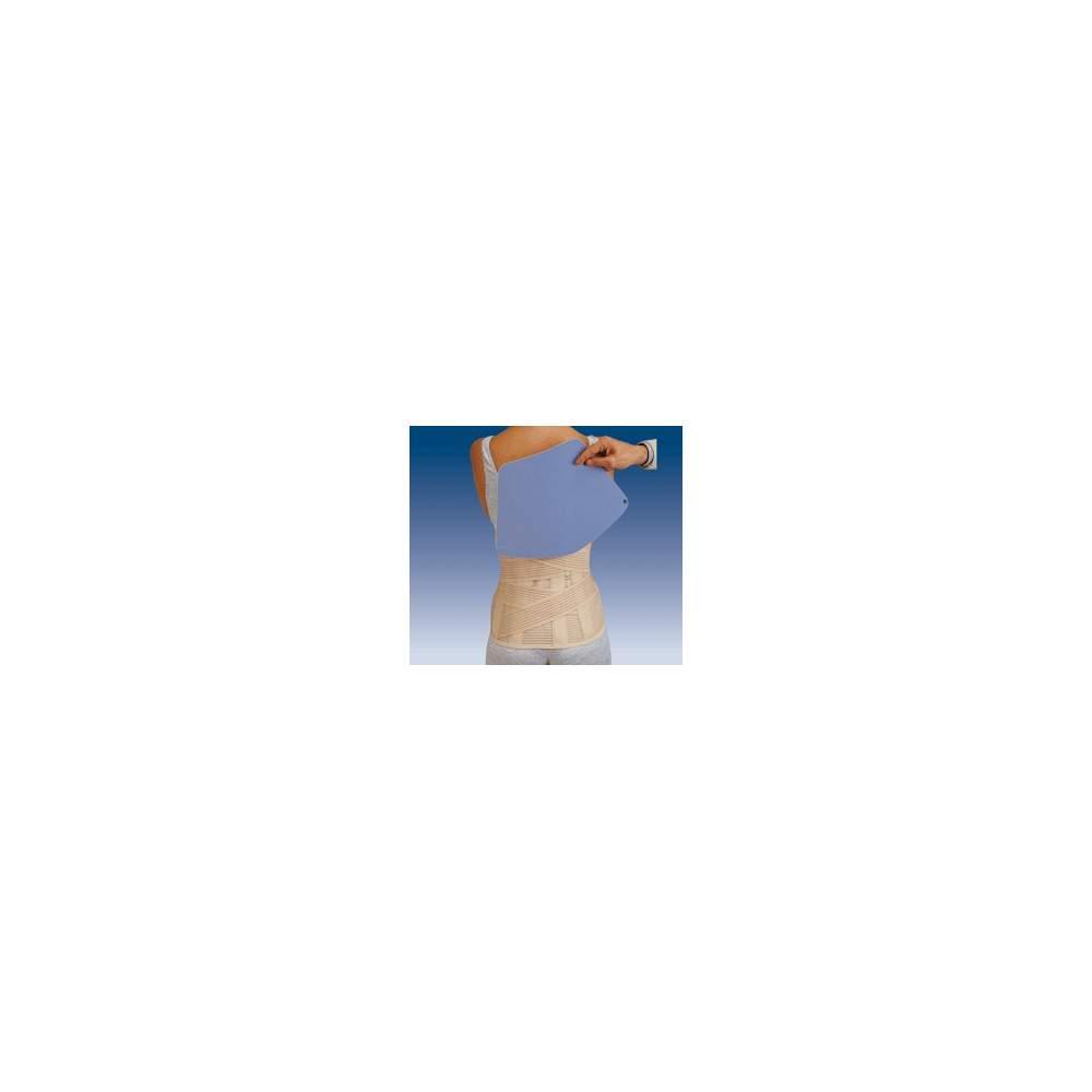 Lombo-sacré sac de ceinture COURT SEJOUR AVEC PLAQUE thermomoulable 1300 - Gaza multibande matériau respirant lombo-sacrée semi-rigide avec deux bandes de tension traverse à l'arrière joignant à l'avant, les baleines dos et verticale velcro...