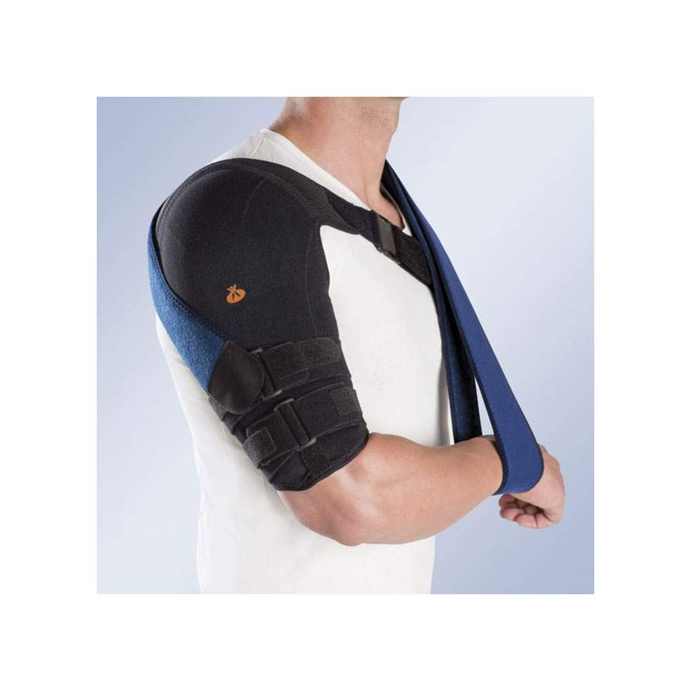 BRACE OF HUMMER IN THERMOPLASTIC WITH NORMAL TEXTILE LINING -  Orthosis of bivalve humerus thermoformed in low density polyethylene, covered with a quilted textile sheath. Breathable honeycomb inner lining.