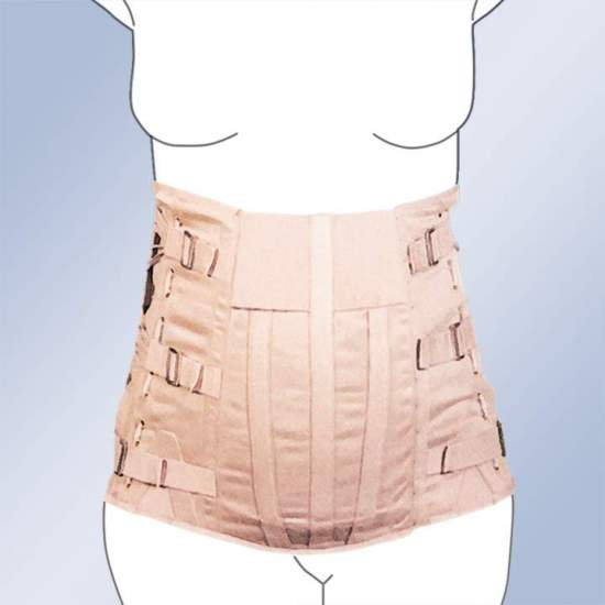 ABDOMEN SEMIRRIGATED SACROLUMBAR BELT CORSETERIA -  Dorsolumbar girdle made of 100% cotton material, straps with buckle closure, plastic whales, side regulation cord. Standard and custom made. Standard clasp closure. Possibility of special closures in zip, velcro-ring or giant clasp.