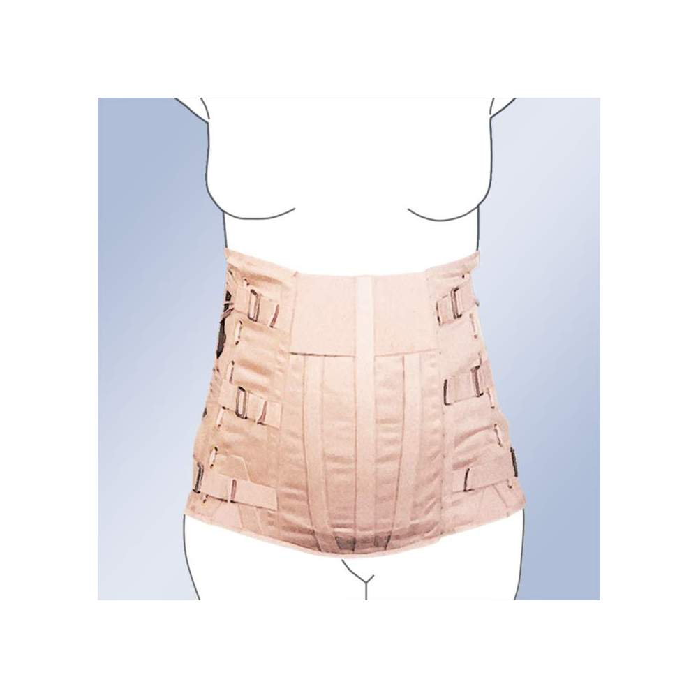 ABDOMEN SEMIRRIGATED SACROLUMBAR BELT CORSETERIA -  Dorsolumbar girdle made of 100% cotton material, straps with buckle closure, plastic whales, side regulation cord. Standard and custom made. Standard clasp closure. Possibility...