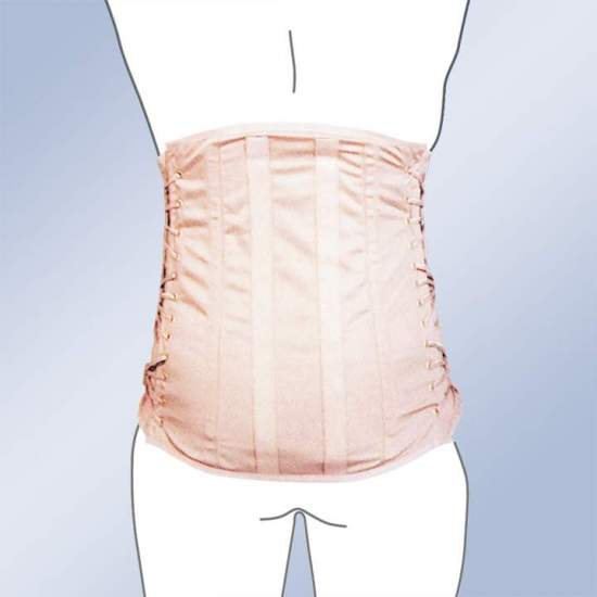 CORSETERIA HIGH LEATHER SACROLUMBAR -  Dorsolumbar girdle made of 100% cotton material, straps with buckle closure, plastic whales, side regulation cord. Standard and custom made. Standard clasp closure. Possibility of special closures in zip, velcro-ring or giant clasp.