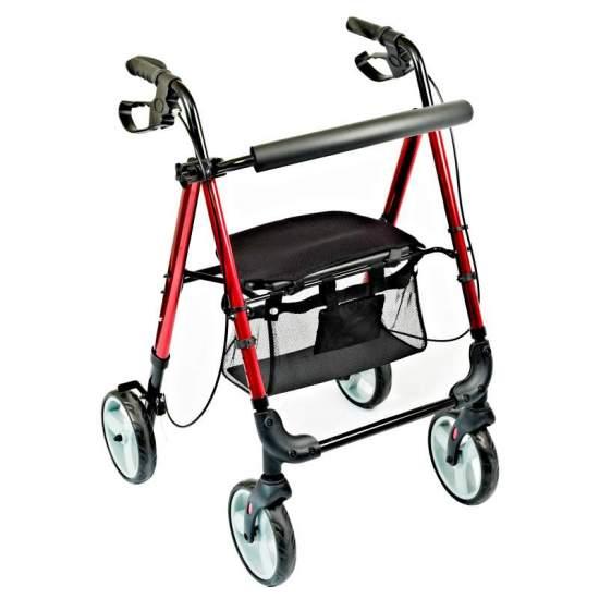 Rolator girello con sedile regolabile Hi-Low -  HI-LOW rolator è in alluminio e incorpora un cestello sotto il sedile. Adatto per l'uso sia all'interno che all'esterno.