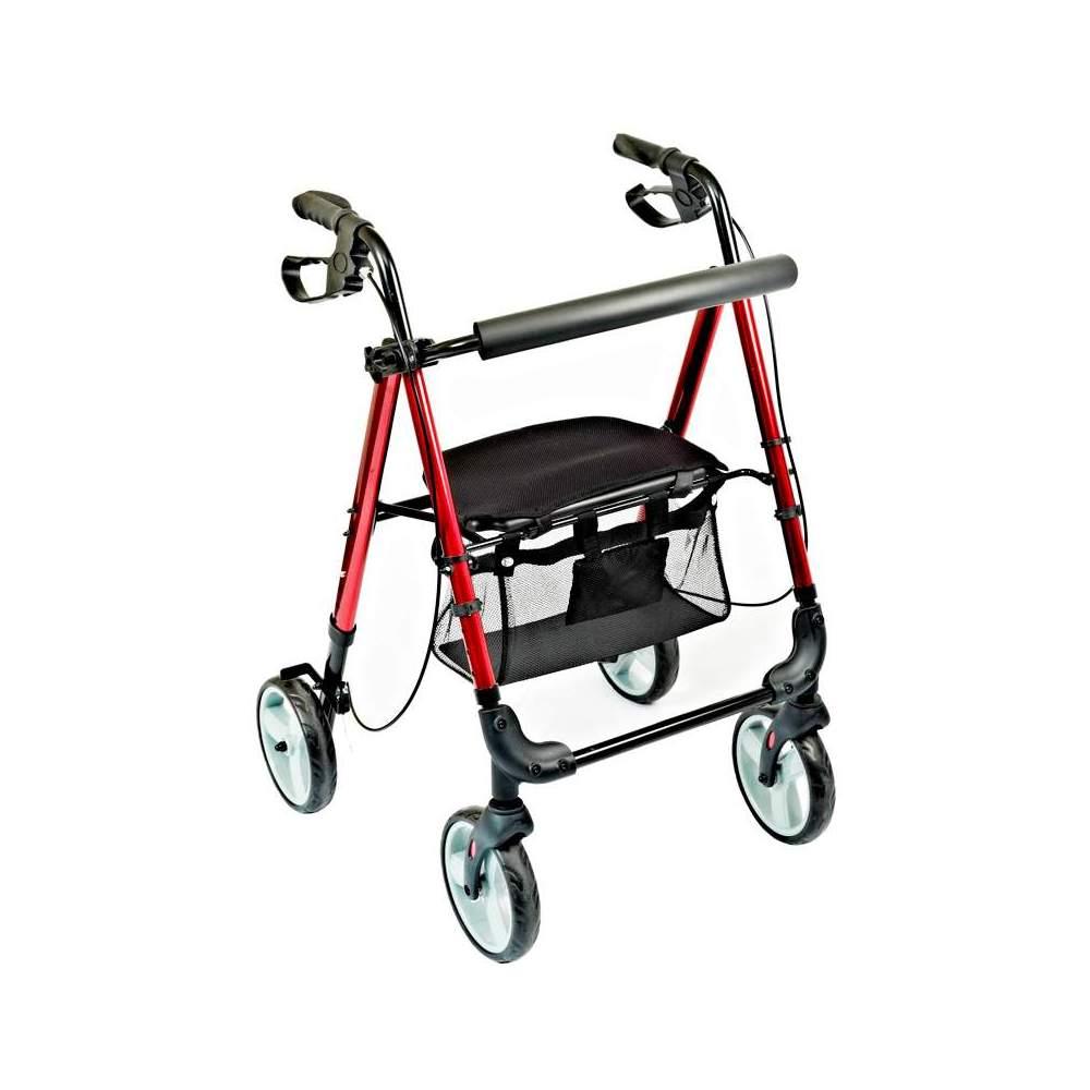 Rolator andador con asiento regulable Hi-Low - El rolator HI-LOW está fabricado en aluminio e incorpora una cesta debajo del asiento. Adecuado para su uso tanto en interiores como en exteriores.