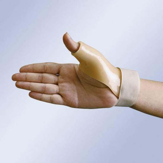 THUMB SPLINT IN THERMOPLASTIC FP-71 - Postural splint thumb thermoplastic lined plastazote and velcro strap closure at wrist.