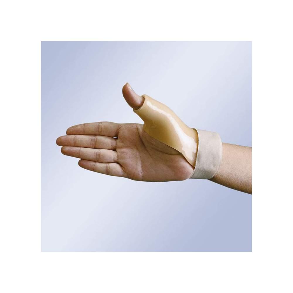 THUMB SPLINT IN THERMOPLASTIC FP-71 - Postural splint thumb thermoplastic lined plastazote and velcro strap closure at wrist.