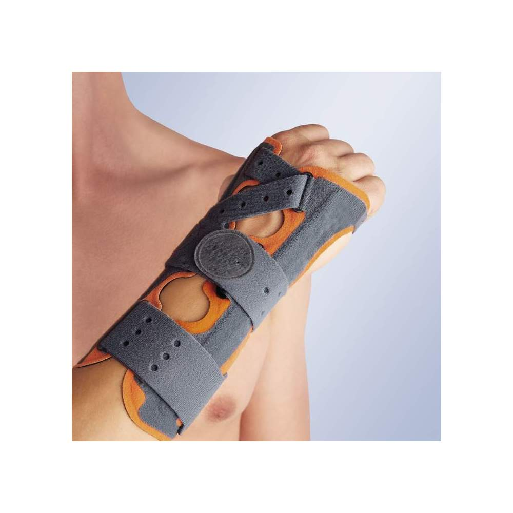 SPLINT WRIST WITH PALM ambidextrous ORLIMAN - Wristlet made of breathable materials of last generation (three layer: foam, velor, foam) having triple immobilizer system in malleable aluminum palmar splint and medium-lateral...