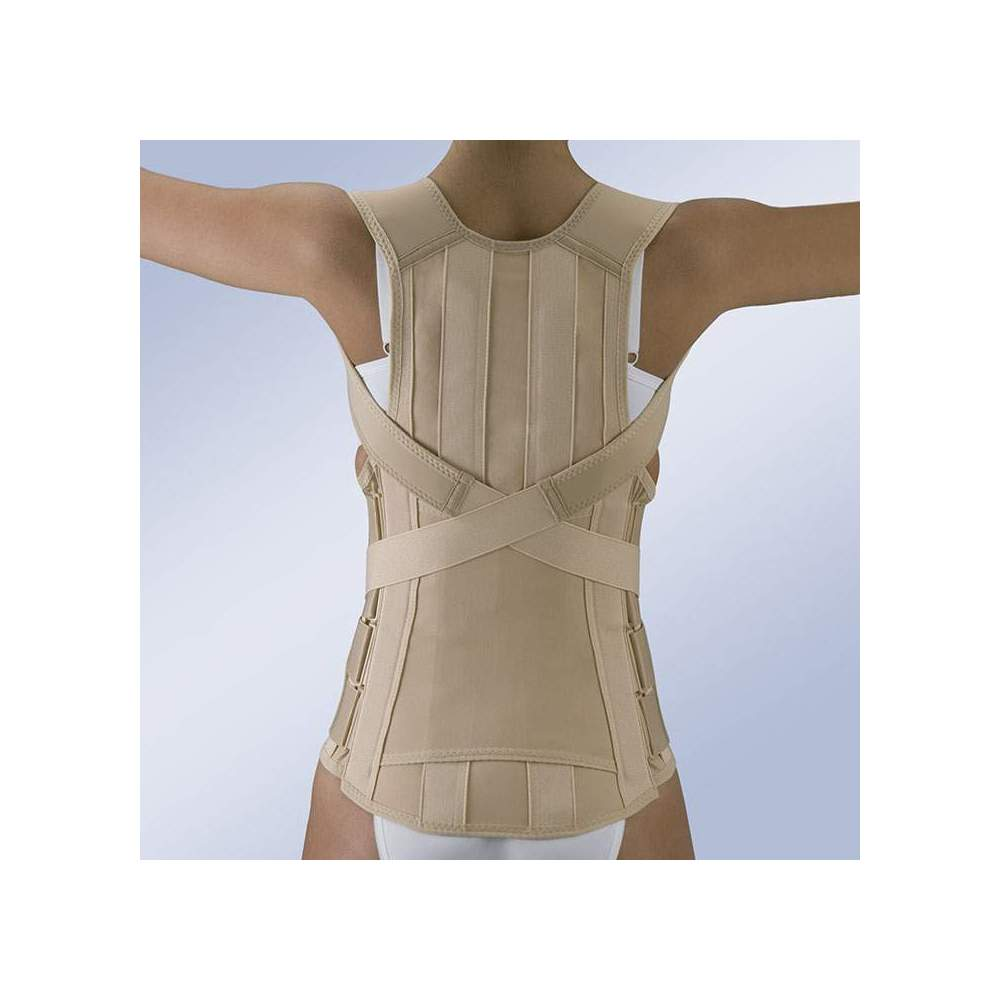 FAJA DORSOLUMBAR SEMIRRIGIDA CIERRE VELCRO FX-213 - Thoracolumbar fascia manufactured from semi-elastic tissue, with subsequent anatomical whales, force multiplier system for traction and adjustment straps, velcro closure.