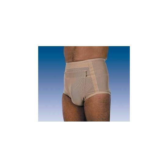 HERNIA SLIP S-120  S-121 - Slip fabric made with different elasticity at various points, two types of pad (flat or anatomical), subject to the abdomen scrotal band with Velcro closure, easy installation and cleaning. Men and women's versions.