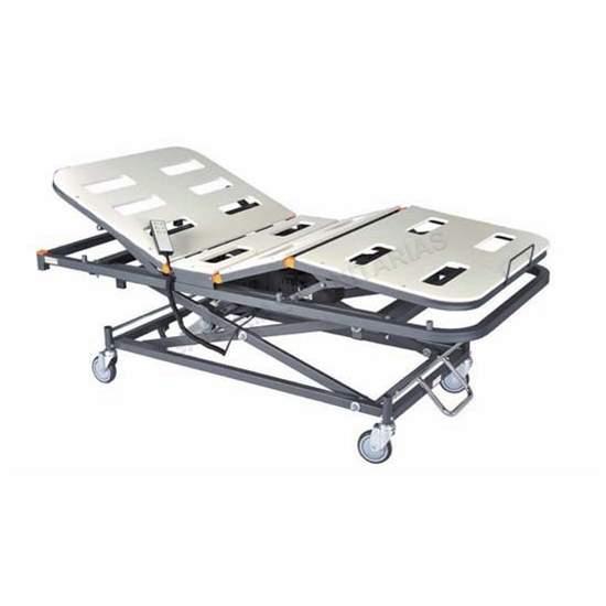 Lit articulé électrique avec 4 plans GeriaLift PVC avec chariot élévateur - Lit articulé électrique de 4 avions avec cabine d'ascenseur./ p>Matelas en PVC