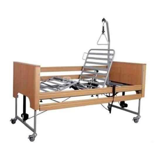 Ecofit Plus - Cama articulada electrica con elevación y kit madera - Cama asistencial con sistema de elevación por columnas Ecofit Plus