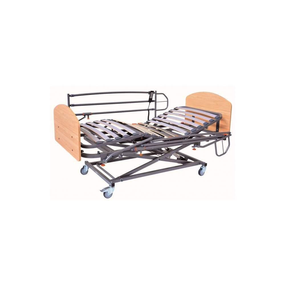 Cama completa FULL GS 90 x 190 cms - Conjunto de cama asistencial completo con elevación de tijera• Cama con elevación GERIALIFT.• Cabecero y piecero en melamina• Juego de barandillas abatibles