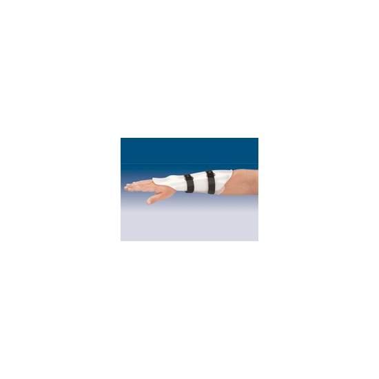 FÉRULA ANTEBRAQUIAL DE ANTEBRAZO TP-6500 - Fabricada en polietileno de baja densidad compuesta por 2 valvas unidas entre si, mediante cinchas de velour y cierre de microgancho. En su cara dorsal se encuentra prolongada en la mano hasta la articulación metacarpofalángica.