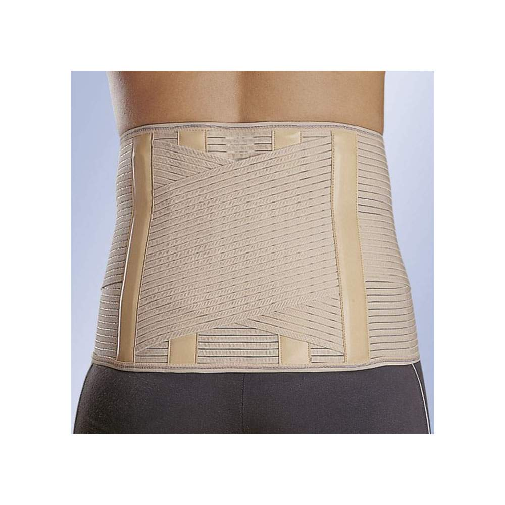 """BELT """"LUMBITRON STABLE"""" SACROLUMBAR LTB-284 -  Elastic fabric, shaped posterior semirigid whales covered with leatherette, velcro closure."""