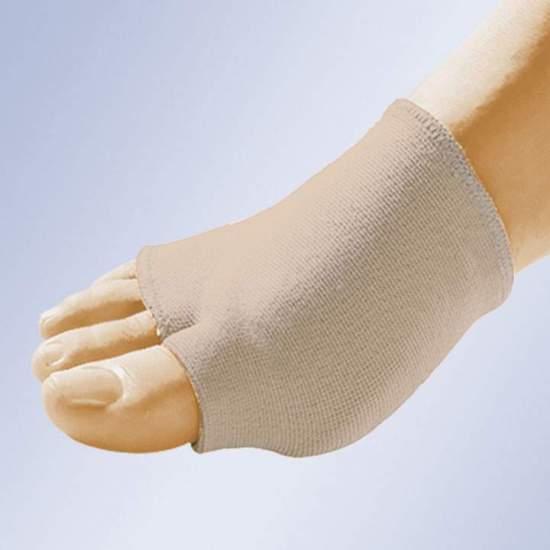 BANDE ÉLASTIQUE AVEC GEL PAD GL-202 -  Bande élastique en tube de coton à placer dans l'avant-pied. Avec séparation pour le premier doigt et avec coussinet plantaire en gel de polymère viscoélastique non toxique.