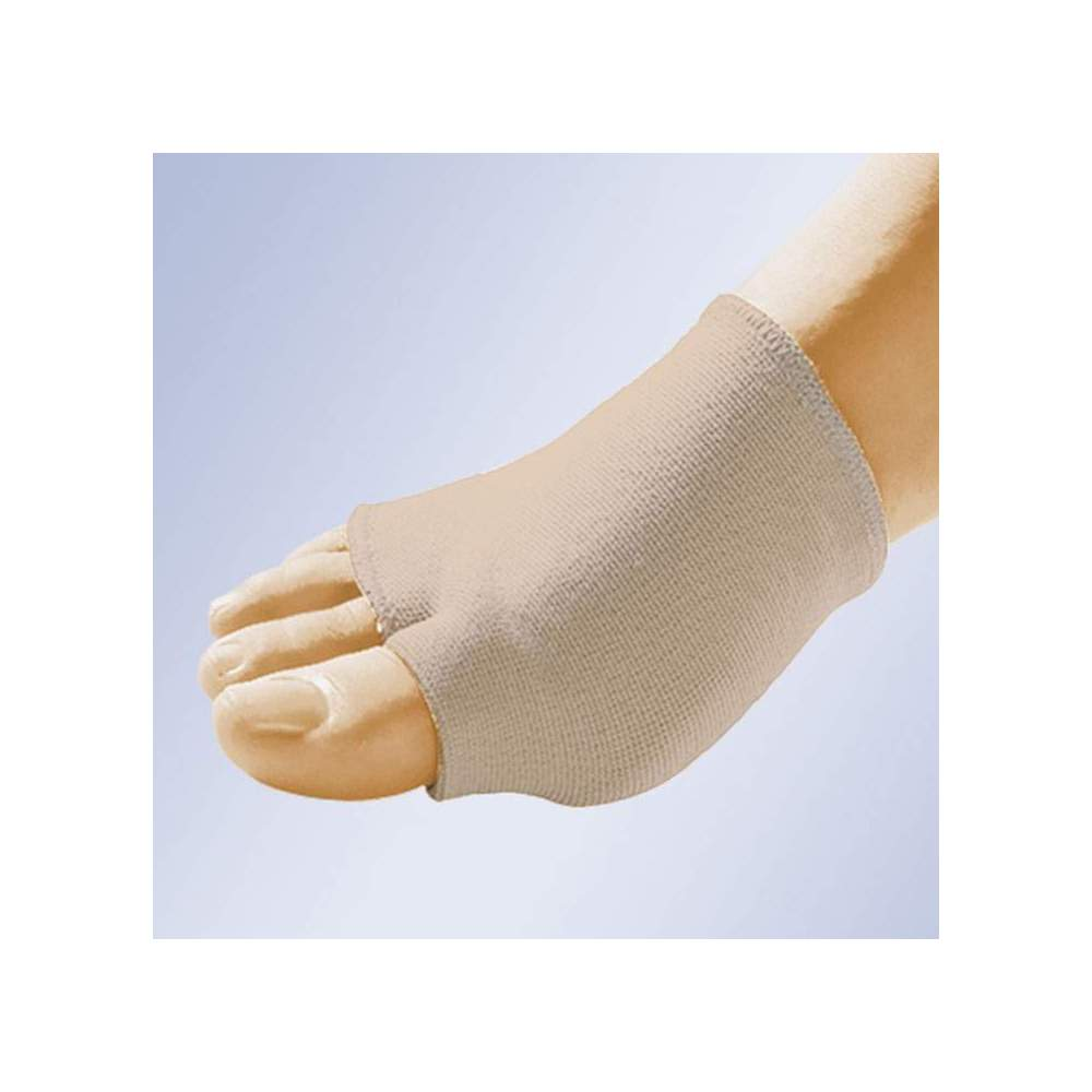BANDA ELÁSTICA CON ALMOHADILLA EN GEL GL-202 - Banda elástica en tubular de algodón para colocar en el antepié. Con separación para el primer dedo y con almohadilla plantar en gel polímero viscoelástico no tóxico.