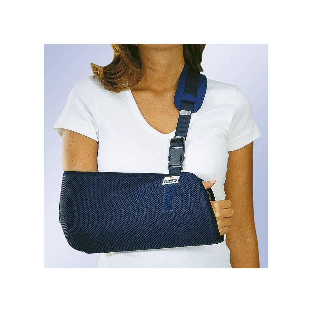CABESTRILLO INMOBILIZADOR ORLIMAN -  Made with breathable honeycomb fabric in the shape of a bag for the elbow and forearm. It has an adjustment band that allows to adjust the height of the arm with protective...