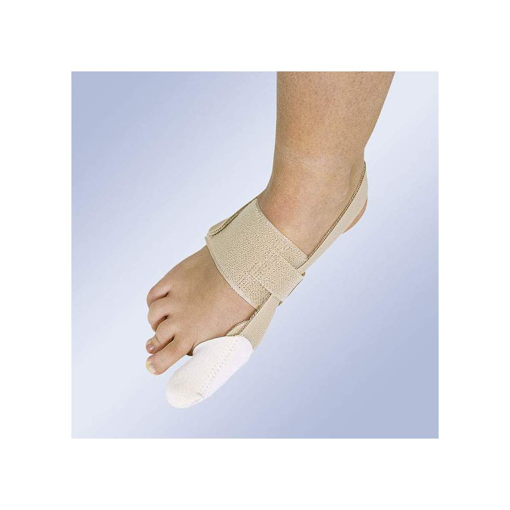 CORRECTOR OF HALLUX-VALGUS DIURNO HV-32 -  It consists of an elastic band around the instep and a cap for the first finger that extends with an elastic band behind the Achilles tendon and closes with Velcro to exert...
