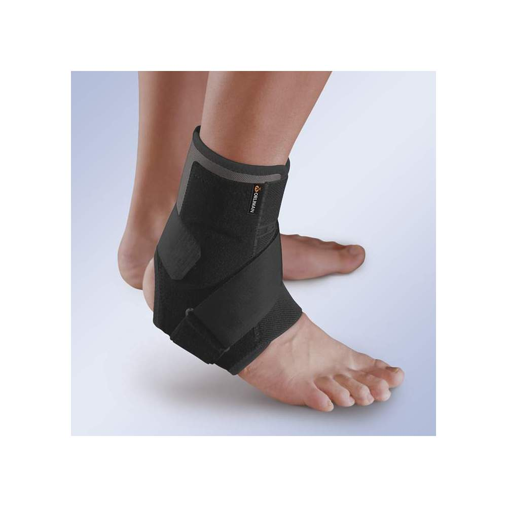 BREATHABLE ANKLE STABILIZER WITH THERMOPLASTIC PLATES -  Ankle stabilizer made of breathable semi-rigid fabric and designed to be able to choose different indications depending on the configuration by which we choose since we can...