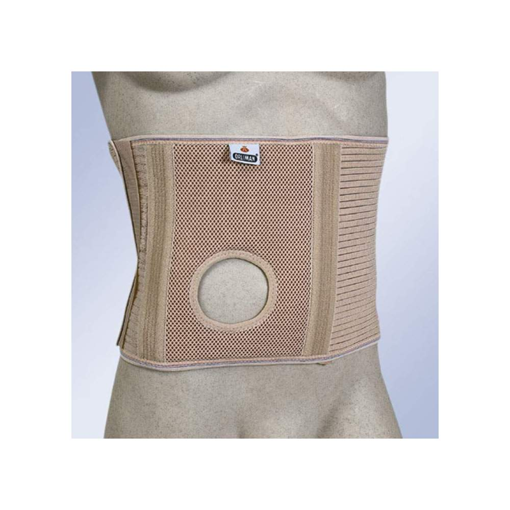 ABDOMINAL BELT FOR OSTOMIZED WITH STOMA HOLE -  Girdle made with elastic fabric associated with a rigid and non-deforming piece for a greater containment of the stoma area. It has 8 flexible whales to avoid deformities of...