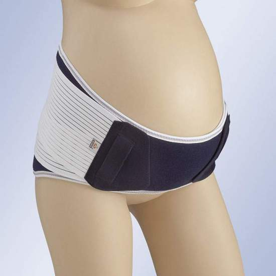 PREGNANT GIRL A-131 -  Short sacrolumbar girdle made of multiband and breathable stretch fabric, incorporates flexible rear whales. Elastic side straps for compression regulation with micro hook closure on velor fabric, finger pins for easy placement.