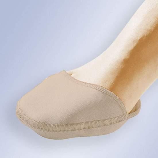 PROTECTEUR D'ANTEPIE EN GEL AVEC TISSU GL-203 -  Protecteur d'avant-pied en gel de polymère polymère viscoélastique non toxique recouvert d'un tissu chirurgical élastique.