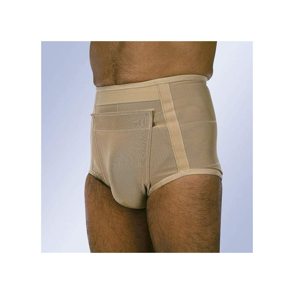 HERNIA SLIP S-120 S-121 -  Slip made with fabric of different elasticity in different points, two types of flat pads, scrotal band fastened to the abdomen with velcro closure, easy placement and washing....