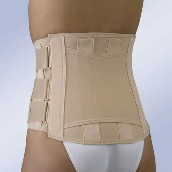 SACRAMMED BELT SEMIRRIGIDA CLOSURE VELCRO SHORT FX-211 -  Semirigid sacrolumbar girdle made of semi-elastic fabric with a majority proportion of cotton, easily adaptable posterior anatomical whales, force multiplying system by means of traction and adjustment straps and Velcro fasteners.