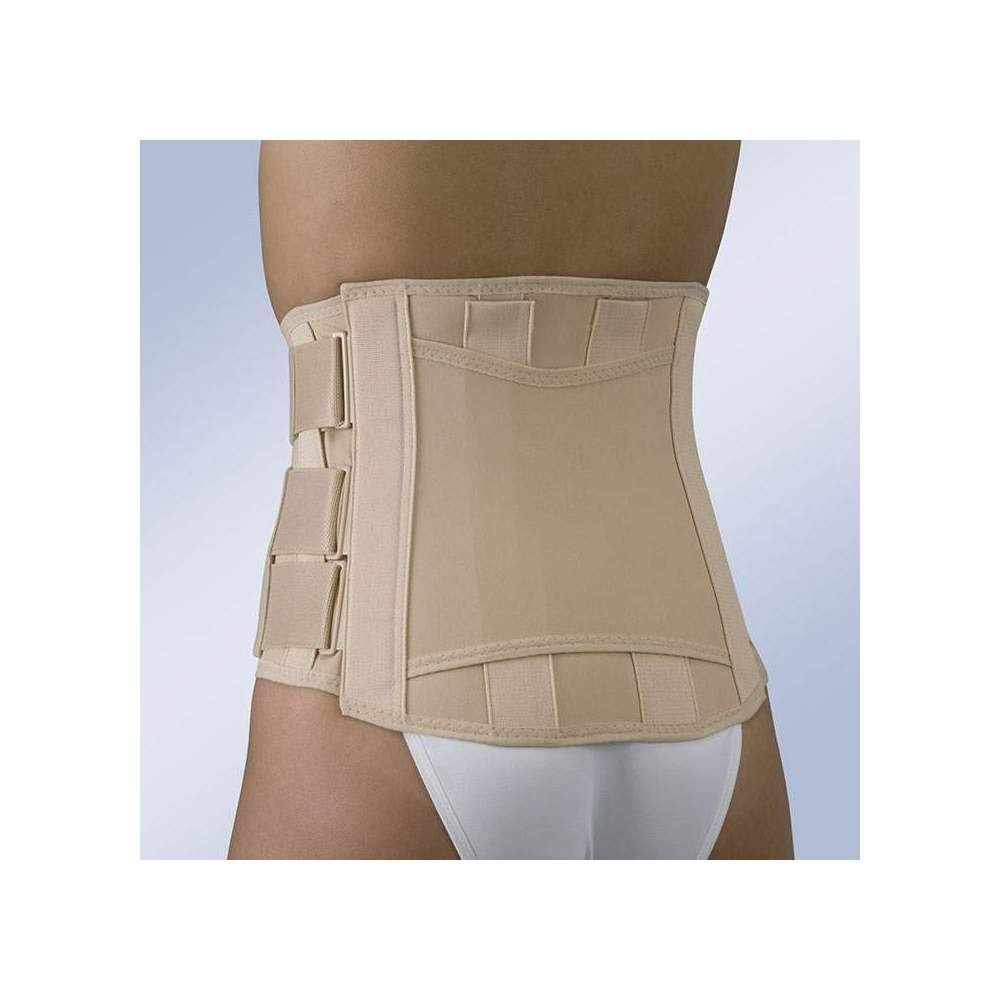 SACRAMMED BELT SEMIRRIGIDA CLOSURE VELCRO SHORT FX-211 -  Semirigid sacrolumbar girdle made of semi-elastic fabric with a majority proportion of cotton, easily adaptable posterior anatomical whales, force multiplying system by means...