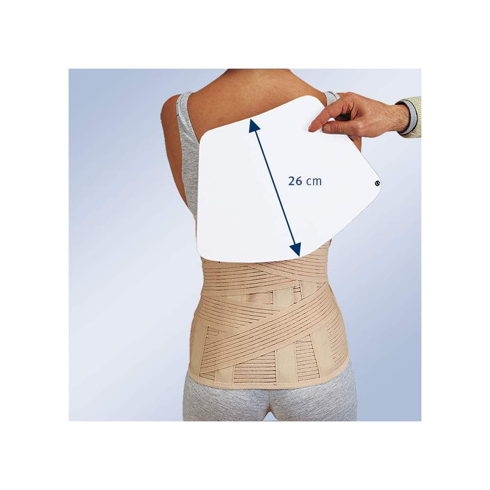 SACROLUMBAR BELT HIGH WITH BAG TO ACCOMMODATE THERMOMOLLABLE PLATE 1310 - Sacrolumbar girdle semi-rigid in breathable multiband material with two elastic straps crossed at the back that fasten on the front, vertical whales on the back and front velcro...