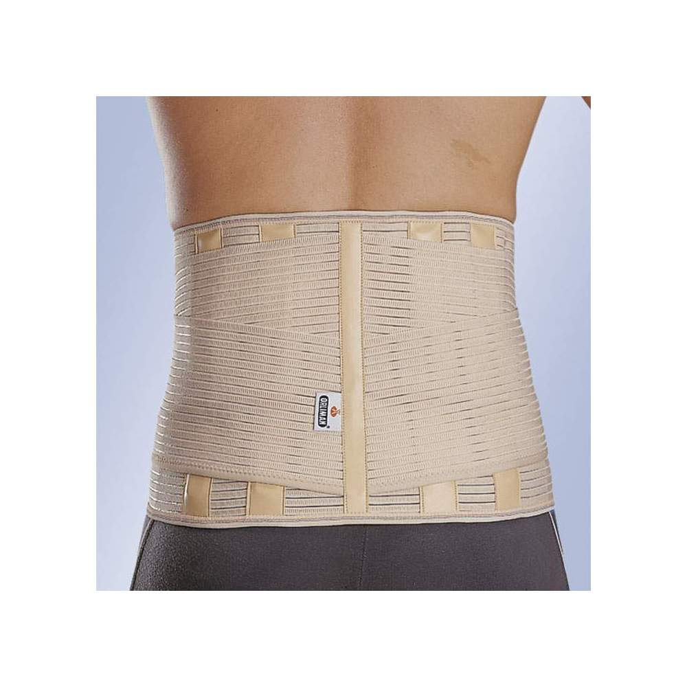 """BELT """"LUMBITRON STABLE FORTE"""" SACROLUMBAR -  Elastic fabric, posterior semirigid whales, covered with leatherette, lateral reinforcements, velcro closure."""