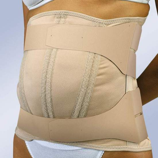 SEMIRRIGATED SEMIRRIGID BELT ABDOMEN PENDULUM WITH VELCRO CLOSURES FX-214 -  High semirigid sacrolumbar girdle made of semi-elastic fabric with a majority proportion of cotton, easily adaptable posterior anatomical whales, force multiplying system by means of tension and adjustment straps and Velcro fasteners....