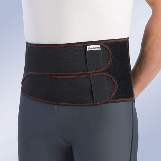 SEMI-RIGID SACRAMID BAND WITH DOUBLE CLOSURE -  Semirigid lumbosacral girdle made of breathable knit elastic fabric and interior in Poromax®, facilitating ventilation and absorption of moisture. This fabric incorporates antibacterial treatment Thermy-tex that prevents the development...