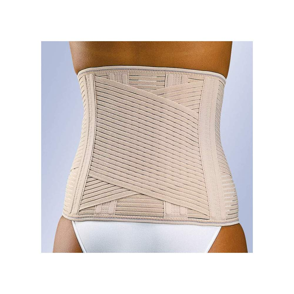 FAJA SACROLUMBAR LUMBITRON -  Lumbosacral strip in breathable multiband material with two crossed bands, vertical whales on the back and front velcro closure. The beige belt incorporates a foam lumbar plate...