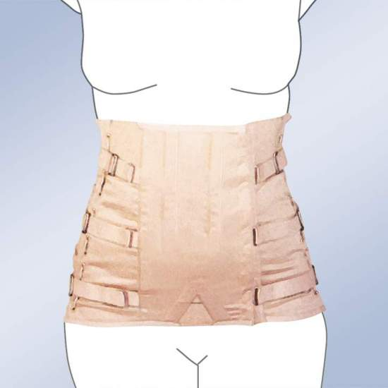 FAJA SACROLUMBAR SEMIRRIGIDA SHORT LADY CORSETERIA 2010-S -  Girdle made of 100% cotton material, straps with buckle closure, plastic whales and regulation side lacing. Standard and custom manufacturing. Ciere standard clasp. Possibility of special closures in zip, Velcro-ring or giant clasp.