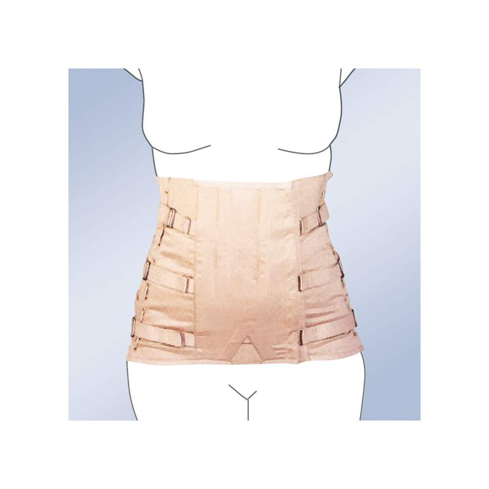 FAJA SACROLUMBAR SEMIRRIGIDA SHORT LADY CORSETERIA 2010-S -  Girdle made of 100% cotton material, straps with buckle closure, plastic whales and regulation side lacing. Standard and custom manufacturing. Ciere standard clasp. Possibility...