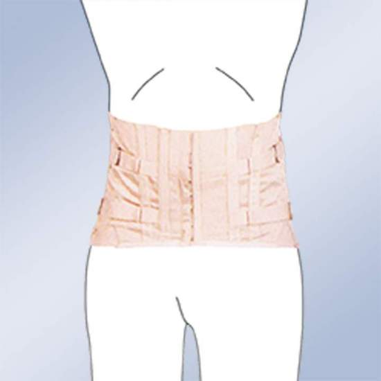 GIRL SACROLUMBAR SEMIRRIGIDA SHORT CABALLERO CORSETERIA 3010-C -  Thorsolumbar girdle made of 100% cotton material, straps with buckle closure, plastic whales, regulation side lacing. Standard and custom manufacturing. Standard clasp clasp. Possibility of special closures in zipper, velcro-ring or...