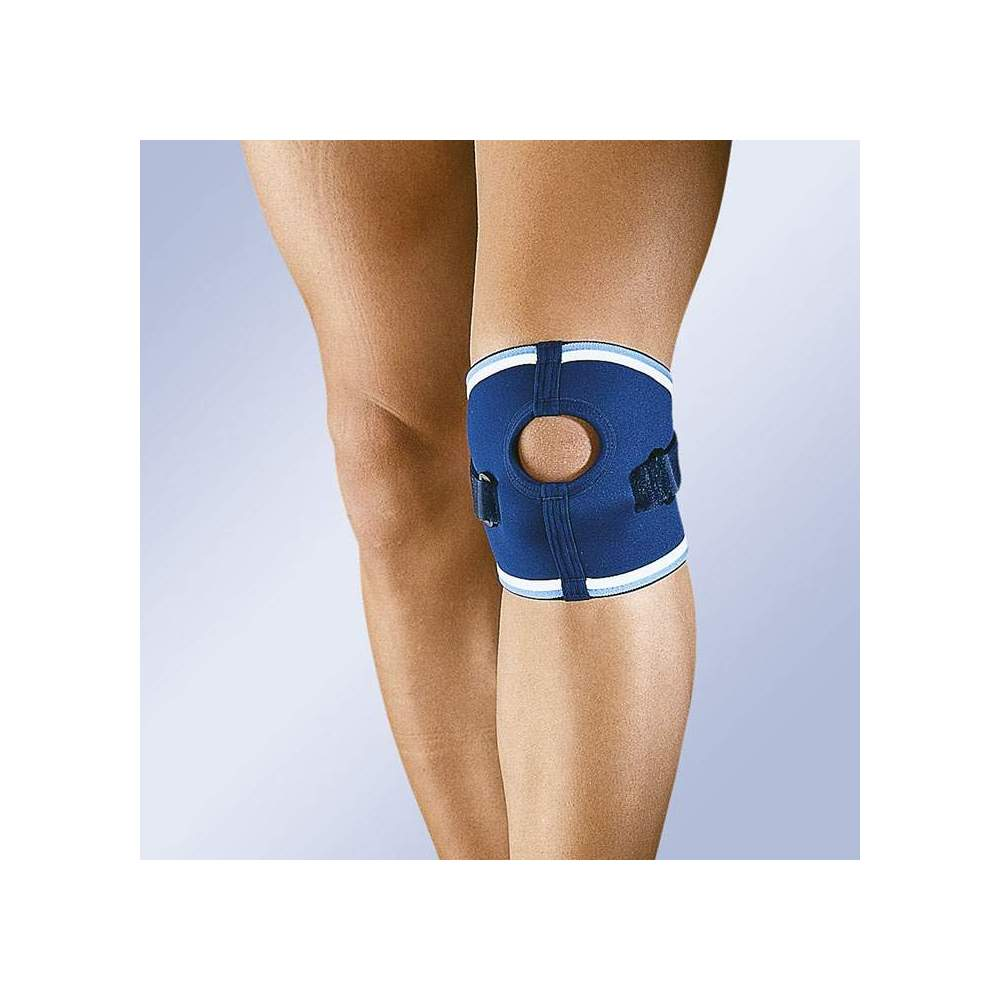 ROTULIAN NEOPRENE KNEE PAD 4111 - Neoprene knee pad 4.5 mm with infrapatellar Velcro strap and patellar opening. It incorporates compressor tube to compress the patellar ligament, before its insertion in the...