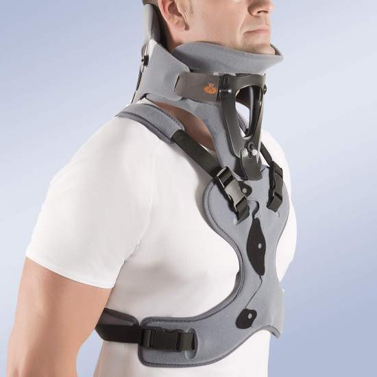 Cervical collar bivaldo with thoracic support - Cervicothoracic orthosis, composed of two modules; one superior (Ref: CC2600, bivalve occipitomental orthosis) and the other inferior (Ref .: CC2700, thoracic extension) provided with two plates: one anterior with sternal handlebar...