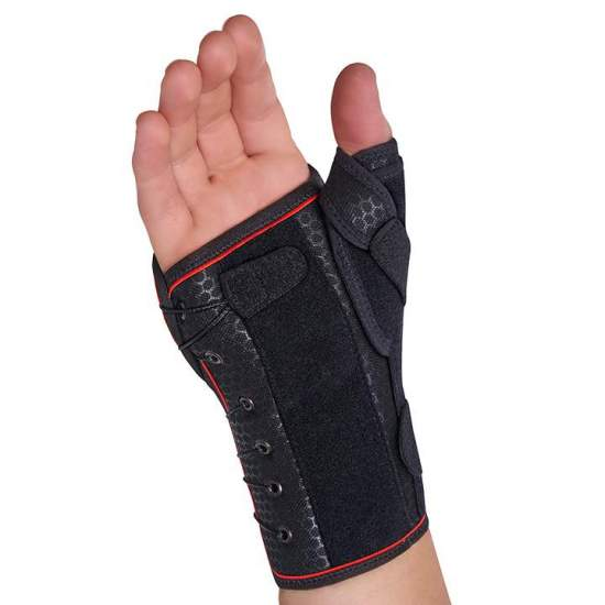 Semi-rigid wristband with splint palmar-dorsal-thumb / fast lacing - Wristband made with a breathable textile base and a layer of cotton that is in contact with the skin, allowing free movement of the fingers.