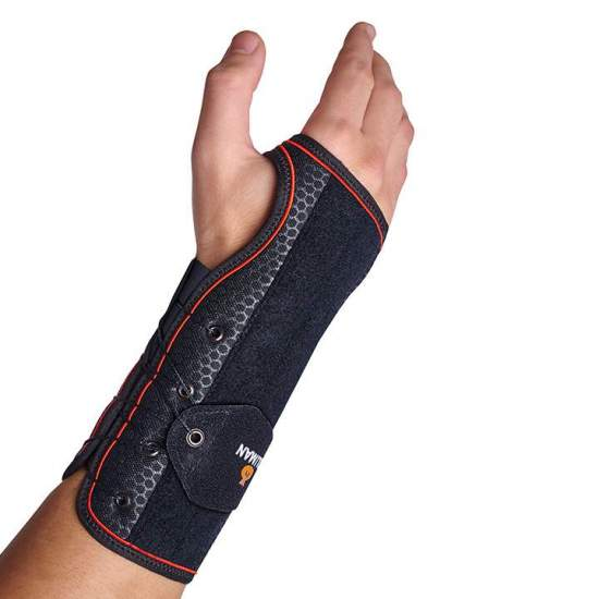 Semi-rigid wristband with splint palmar-dorsal / fast lacing - Wristband made with a breathable textile base and a layer of cotton that is in contact with the skin, allowing free movement of the fingers.