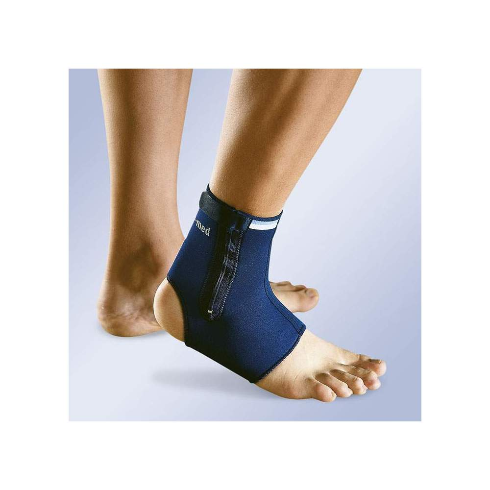 NEOPRENE ANKLE WITH ZIPPER -  Ankle strap in open 3 mm neoprene with velcro on the side, and with a side zipper for easy adjustment and adaptation.